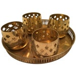 Image of Vintage Brass Tray With Votive Candle Holders