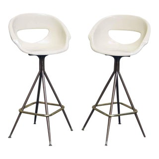White Bucket Seat Stools - A Pair