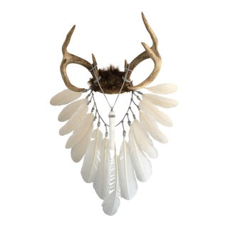 Cream & White Feathers With Selenite Crystal on Deer Antlers