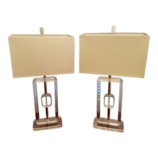 Mid-Century Lucite Table Lamps - A Pair
