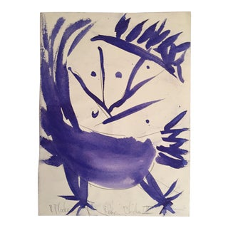 "Vintage Original Robert Cooke ""Dancing Chicken"" Drawing"