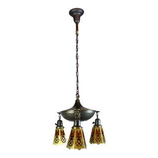 Art Nouveau Inspired 3 Light Pan Fixture