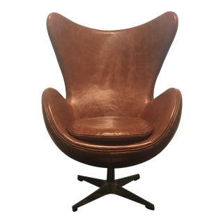 Arne Jacobsen Style Cognac Leather Egg Chair