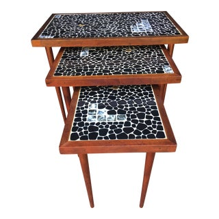 Mid-Century Modern Danish Tile Nesting Tables - Set of 3