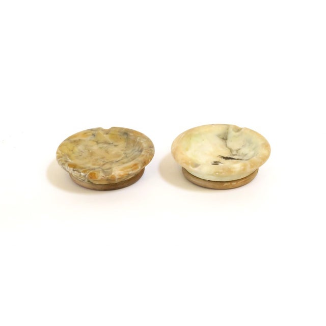 Alabaster & Wood Ashtrays - Pair - Image 3 of 6