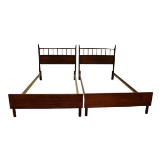Mid-Century Danish Modern Walnut Spindle Twin Size Bed Frames - a Pair