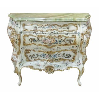 Venetian Paint Decorated Bombe Commode