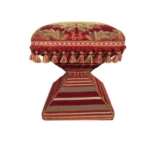 English Floral Brocade & French Tassel Upholstered Footstool