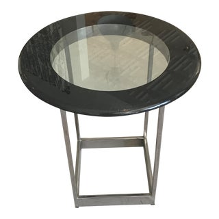 Chrome and Glass Round Side Table
