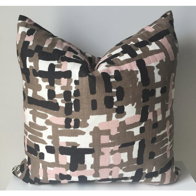 Abstract Linen Pillows - A Pair - Image 3 of 6