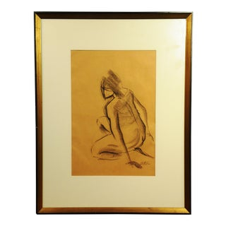 Vintage Charcoal Nude Female Sketch
