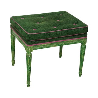 Vintage Louis XVI Custom Faux Green Painted Bench