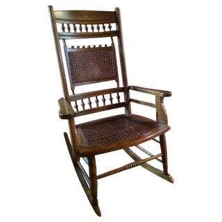 Cane & Carved Wood Rocking Chair