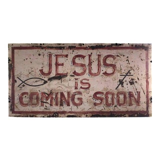 """""""Second Coming"""" Hand-Painted Metal Sign"""