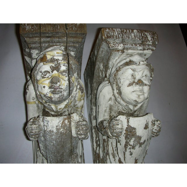 Antique Carved Oak Gargoyle Brackets - A Pair - Image 6 of 11