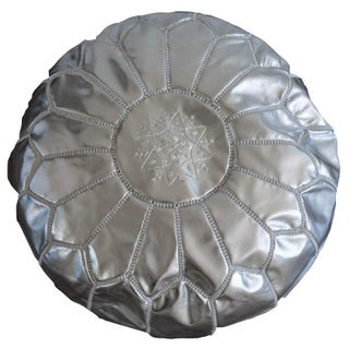 Moroccan Style Silver Leather Pouf