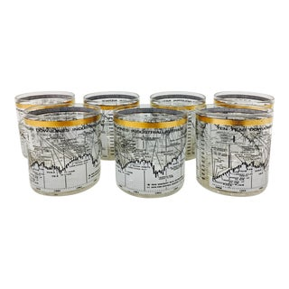 Vintage Dow Jones Stock Market Cocktail Glasses - Set of 7