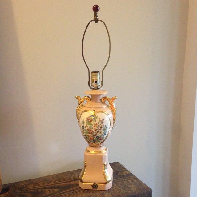 Vintage Blush Colored Deena China Lamp - Image 2 of 11