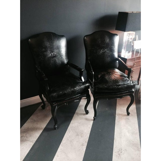 Leather Crocodile Library Chairs - A Pair - Image 4 of 4