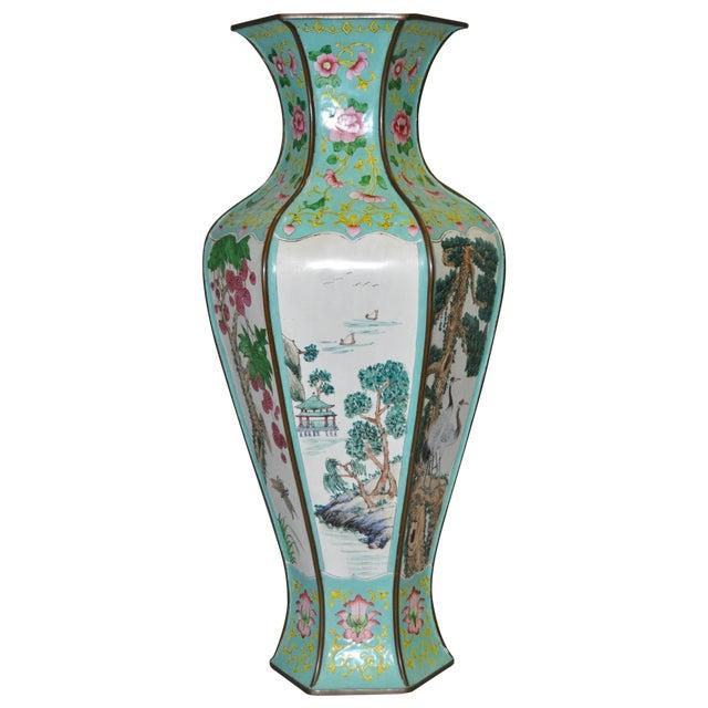 Early 20th Century Hexagonal Enameled Copper Vase - Image 1 of 6