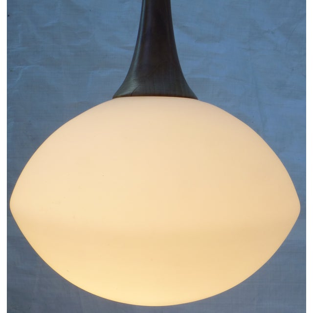 Mid-Century Walnut and Glass Pendant Lamp - Image 4 of 8
