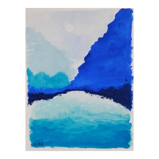 Abstract Landscape in Blue by Cleo