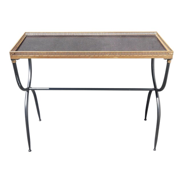 Hollywood Regency French Black Granite X Console Table - Image 1 of 10