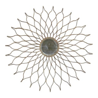 French 1930s Hand-Wrought Iron Sun Mirror by Raymond Subes