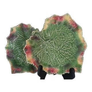 Portuguese Majolica Leaf Plates - Pair