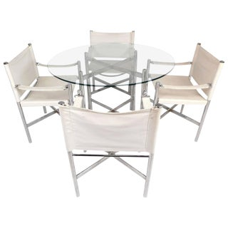 Mid-Century Modern Chrome X-Base Dining Set