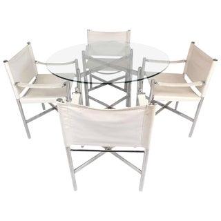 Mid-Century Modern Chrome X-Base Dining Set