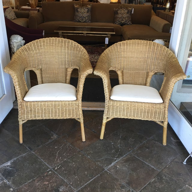 Stackable Wicker Arm Chairs & White Cushions - A Pair - Image 3 of 11
