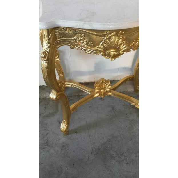French Rococo XV Marble Top Console Table - Image 3 of 9