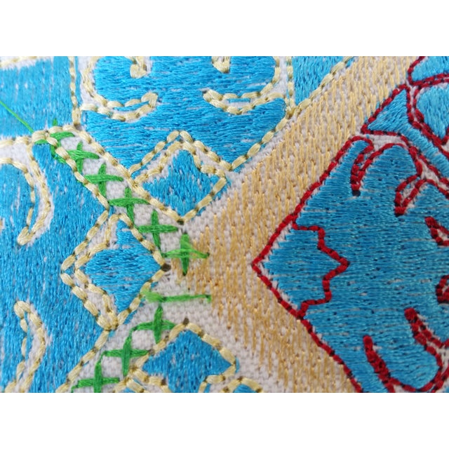 Vibrant Silk Embroidered Pillow - Pair - Image 4 of 5