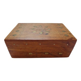 Indian Brass Inlay Wood Box