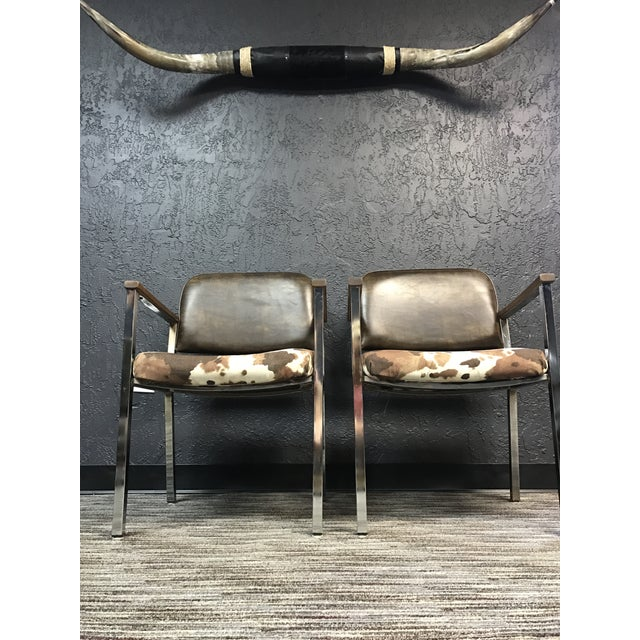 Mid-Century Faux Cowhide Chairs - A Pair - Image 5 of 8