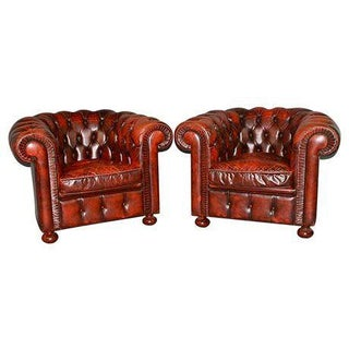 Chesterfield Leather Chairs - a Pair
