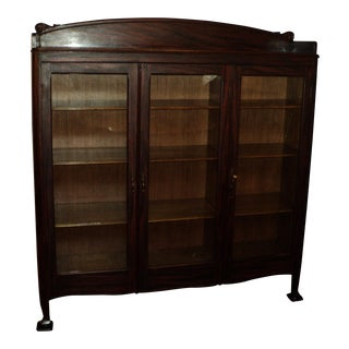Antique Three Door Oak Bookcase Display Cabinet