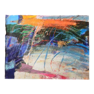 1970s Vannie Keightly Mixed Media Abstract Painting