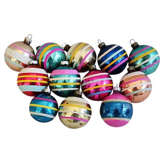 1960s Striped Christmas Ornaments w/Box - Set of 12