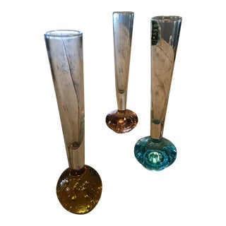 Vintage Art Glass Single Bloom Vases - Set of 3