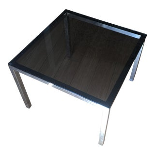 Mid-Century Smoky Glass & Chrome Side Table