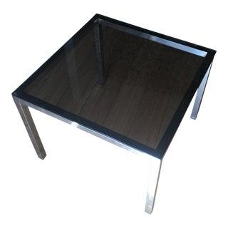 Mid-Century Smoky Glass & Chrome Side Table