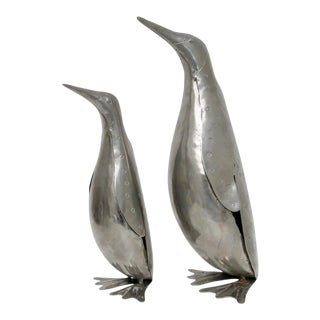 Metal Penguin Figures- A Pair