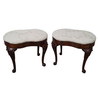 Queen Anne Style Mahogany Footstools - A Pair
