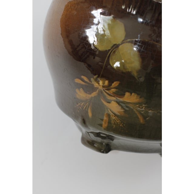 Image of Vintage Brown Ceramic Footed Planter Cachepot Jardiniere With Leaves and Flowers
