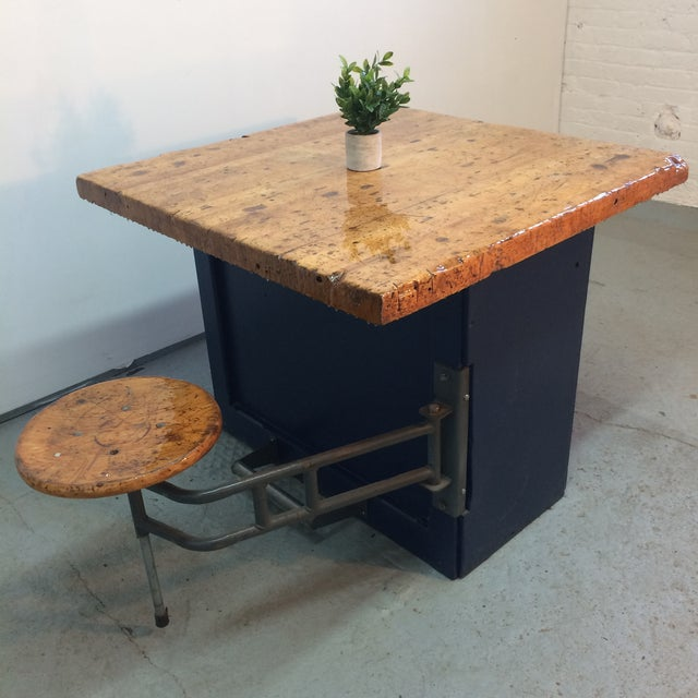 Buy Butcher Block Table Top: Industrial Swing Out Stool Butcher Block Table
