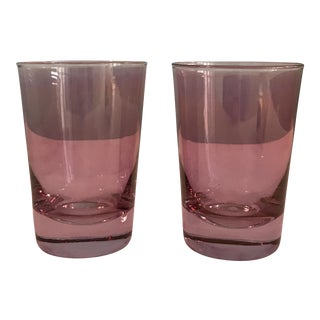 Vintage Mid-Century Modern Water Glasses Pink - A Pair