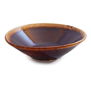 Vintage Wide Fruit Bowl With Brown Drip Glaze