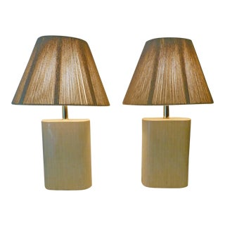 Karl Springer Tessellated Bone Lamps With Original Rope Shades - A Pair